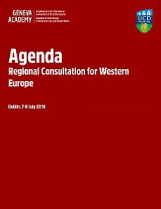 Cover of the Agenda of the Regional Consultation for Western Europe