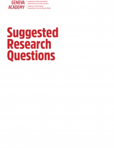 Cover of the Suggested Research Questions