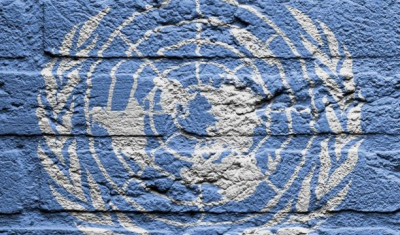UN Flag painted on a brick wall
