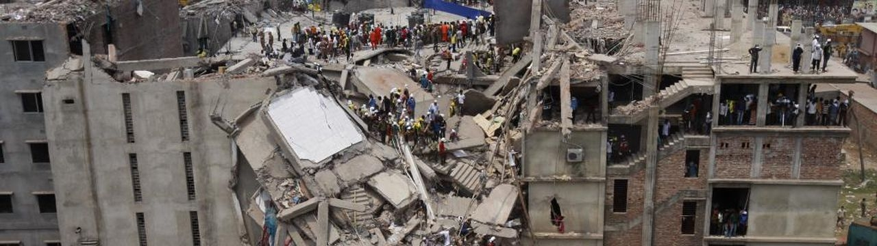 View of the collapse of the Rana Plaza building in Dakka, Bangladesh
