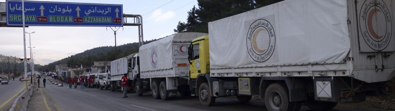 2016, Rural Damascus, Zabadani way. A joint ICRC, UN, Syrian Arab Red Crescent aid convoy en route to Madaya.