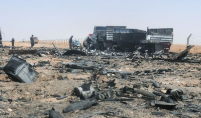 Libya, Between Brega and Ras Lanuf. Weaponery destroyed during the fighting