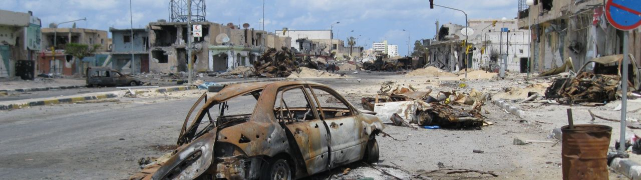 Libya,  Misrata.Tripoli street after heavy fighting has taken place.