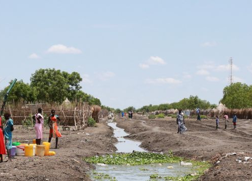 South Sudan, Akobo, women collect water at a water point