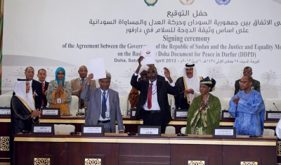 6 April 2013, Doha, Qatar: signature of the peace agreement between the Government of Sudan and the  the Justice and Equality Movement (JEM) on the basis of the Doha Document for Peace in Darfur (DDPD).