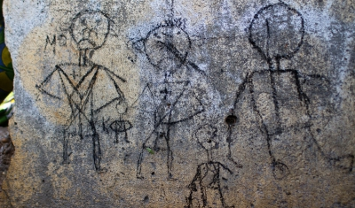 Central African Republic, Ndélé, near the airfield, camp of displaced people. Child's drawing.