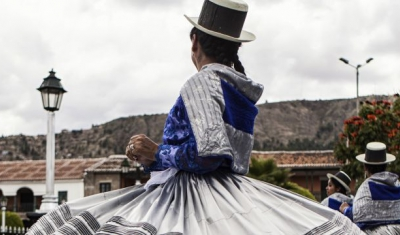 Peru,  Ayacucho, square. Traditional dancers