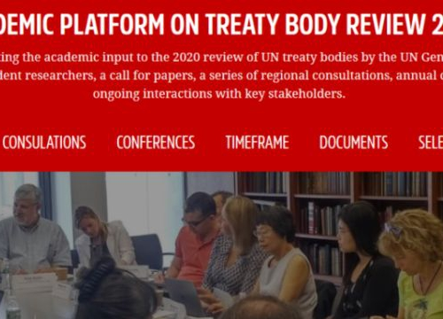 Homepage of the new portal for the Academic Platform on Treaty Body review 2020