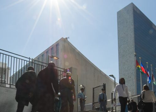 UN Headquarters in New York: a view of the UN headquarters complex, as seen from the Visitors' Entrance