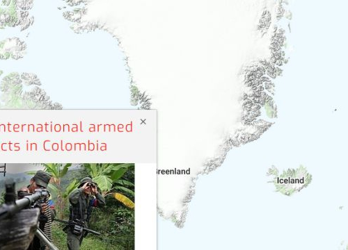 Map of the RULAC online portal with the pop-up window of the non-international armed conflicts in Colombia