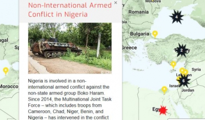 Map of the RULAC online portal with the pop-up window of the non-international armed conflict in Nigeria