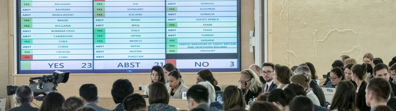 Voting during the  40th session of the Human Rights Council, March 2019