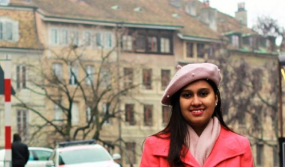 Portrait of Naureen Rahim in the Geneva Old Town