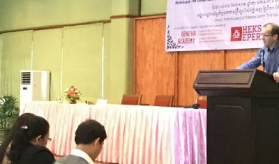Dr Christophe Golay during the training course in Cambodia