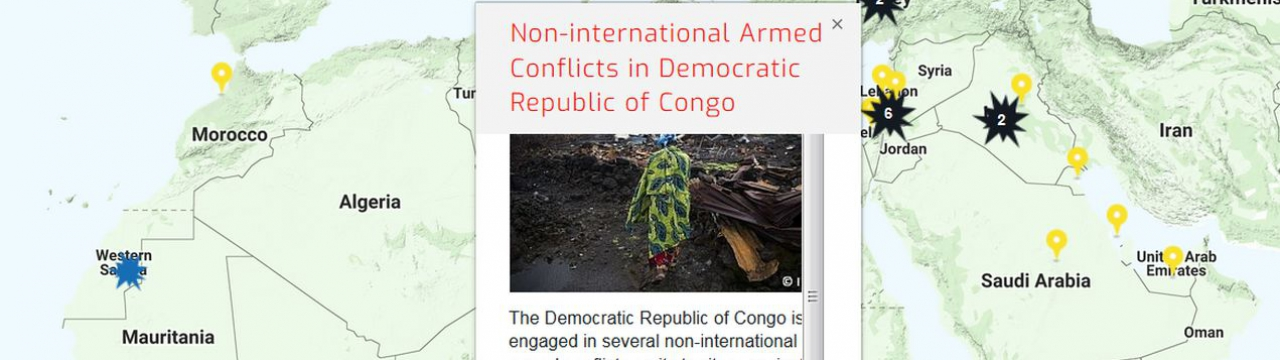 Map of the RULAC online portal with the pop-up window of the non-international armed conflicts in DRC.