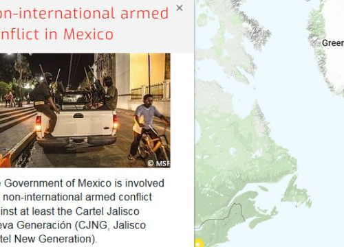 Map of the RULAC online portal with the pop-up window of the non-international armed conflict in Mexico.