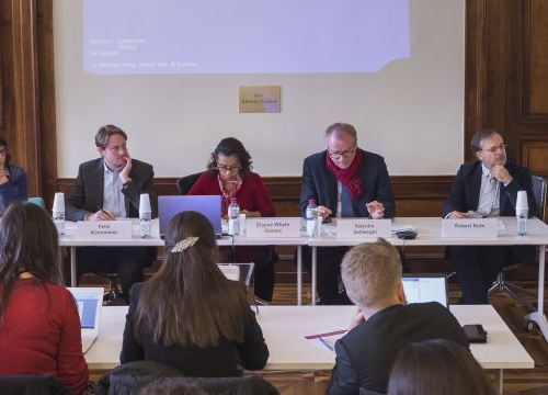 Participants in a meeting of the UN Treaty Body members Platform