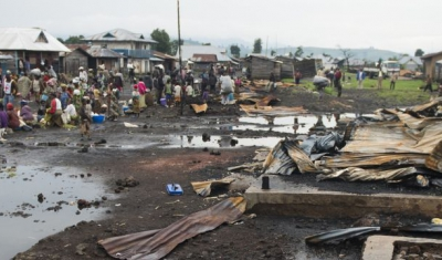 Democratic Republic ofn the Congo,  North Kivu province, Kitchanga downtown. The insanitary conditions next to the market worsens the situation of the residents affected by the recent violence.