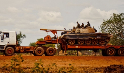 A Sudan People's Liberation Army (SPLA) tank in Turalei, South Sudan.