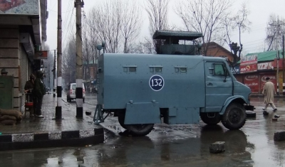 View of the Lal chowk in Srinagar with an armoured vehicle