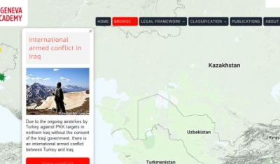 Map of the RULAC online portal with the pop-up window showing the IAC in Iraq..