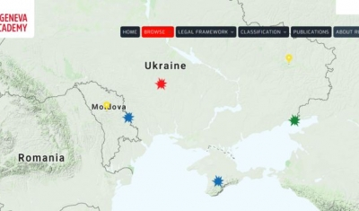 Map of the RULAC online portal showing Ukraine
