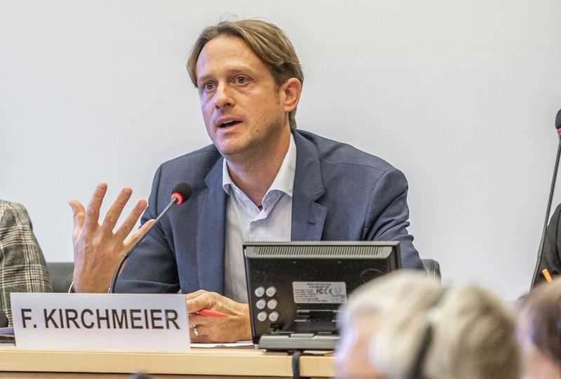 Portrait of Felix Kirchmeier during a session of the UN Human Rights Committee