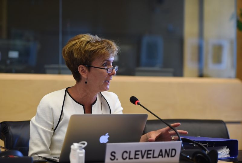 Portrait of Sarah Cleveland during a session of the UN Human Rights Committee