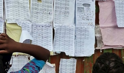 Enough Project  Voters list at polling station Afia Katindo in Goma, DRC.