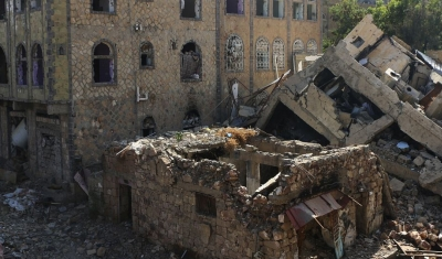 Yemen, Taiz, Salah district. A partly damaged neighborhood.