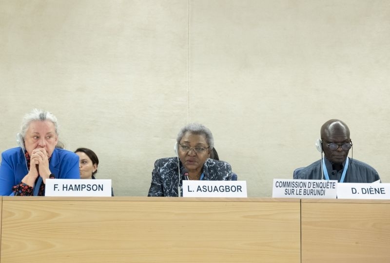 Doudou Diene ( right ) Chairperson of the Commission of inquiry on Burundi, Lucy Asuagbor ( centre ) and Françoise Hampson ( left ) Members of the Commission of inquiry on Burundi present his report at a 40th Session of the Human Rights Council. 12 March 2019