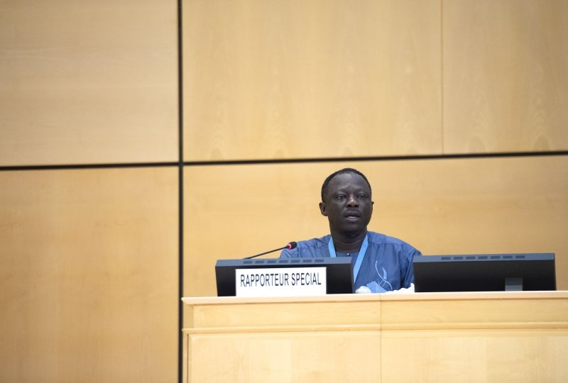 Clement Nyaletsossi Voule, Special Rapporteur on the rights to freedom of peaceful assembly and of association, 44th session of the Human Rights Council. 9 july 2020.