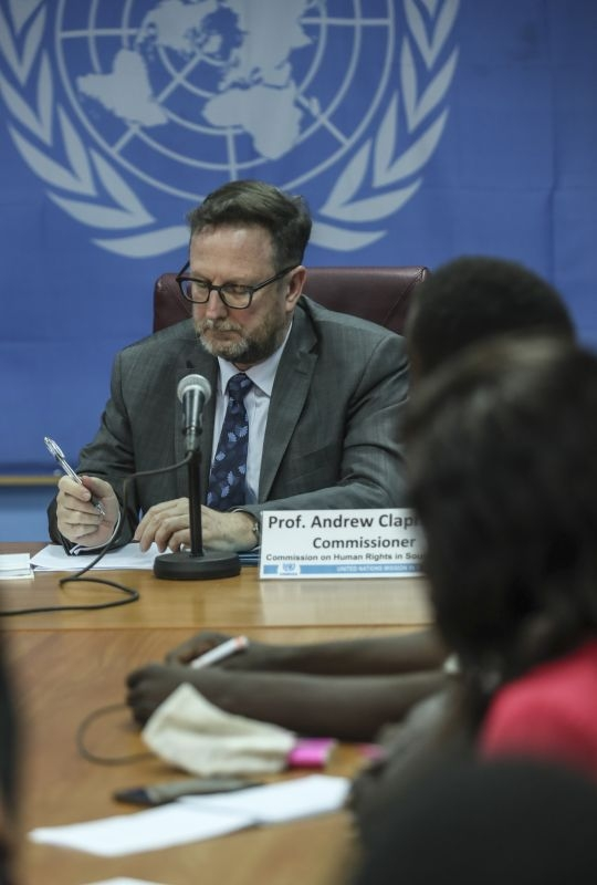 Press conference of the United Nations Human Rights Commissioners in South Sudan with Commissioner Andrew Clapham