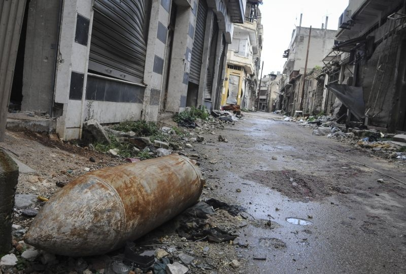 Syria, Homs. Unexploded ordnance in the street.