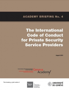 Cover of the Briefing No4: The International Code of Conduct for Private Security Service Providers