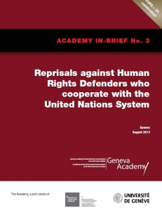 Cover of the In-Brief No3: Reprisals against Human Rights Defenders who cooperate with the United Nations System