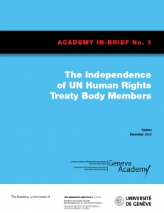Cover of the In-Brief No1: The Independence of Treaty Bodies' Members