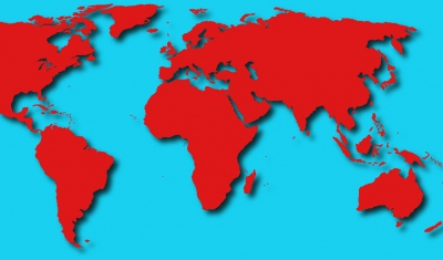 World Map with continents in red