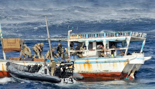 Royal Marines on counterpiracy operations near Somalia