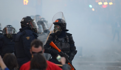 Police intervention during a demonstration