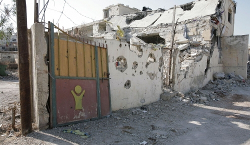 South Lebanon, Aita ech Chaab. Entry door of the primary school.