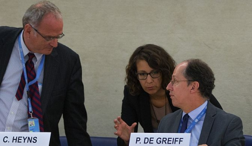 U.S. Ambassador Keith Harper, after the presentation of the report to the Human Rights Council September 27 by independent experts: Mr. Pablo de Greiff, Mr. Christof Heyns, Ms. Maya Sahli-Fadel.