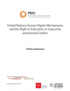 Cover of Policy Summary: United Nations Human Rights Mechanisms and the Right to Education in Insecurity and Armed Conflict