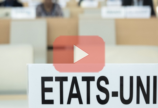 Name plate of the United States at the UN Human Rights Council